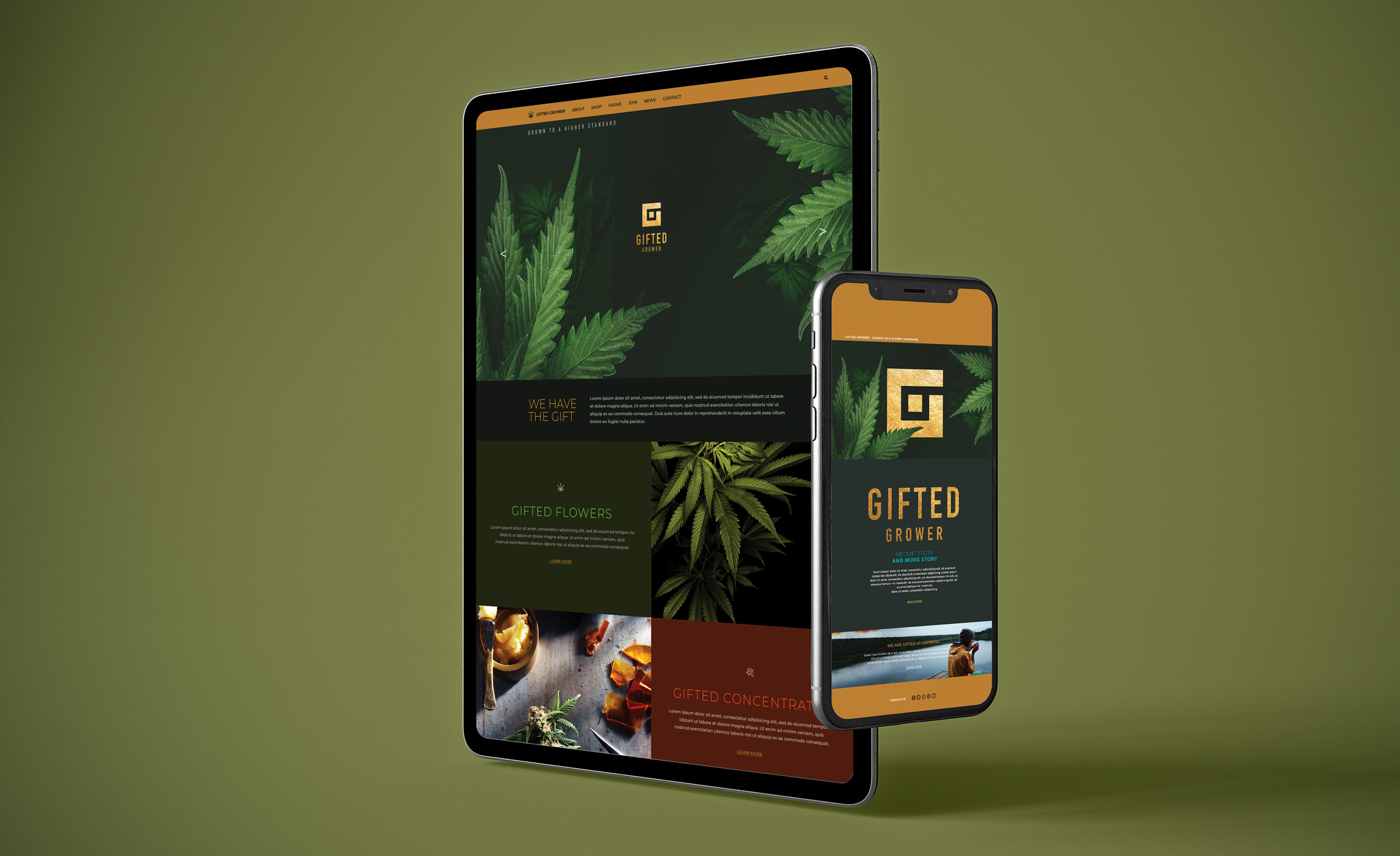 Gifted Grower brand identity, web design
